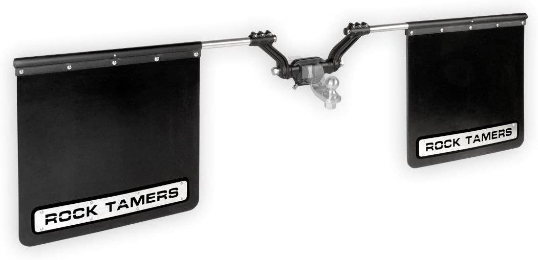 "ROCK TAMERS (00110) 2.5"" Hub Mudflap System with Matte Black Stainless Steel Trim Plates"