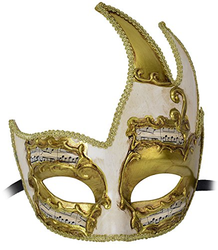 [Coxeer Masquerade Mask for Men Vintage Musical Design Party Prom Mardi Gras Mask] (Masquerade Mask For Prom)