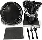 Disposable Dinnerware Set - Serves 24 - - Includes Plastic Knives, Spoons, Forks, Paper Plates, Napkins, Cups, Assorted Colors