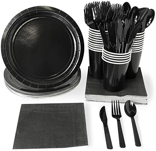 Black Party Supplies - 24-Set Paper Tableware - Disposable Dinnerware Set for 24 Guests, Including Knives, Forks, Spoons, Paper Plates, Napkins and Cups, Black