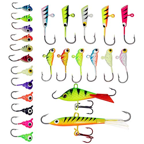 - ZWMING Ice Fishing Jigs Kit, Ice Fishing Lures in Tackle Box Bass Trout Walleye Perch Winter Ice Fishing Baits Treble Hooks (A-25Ppcs)