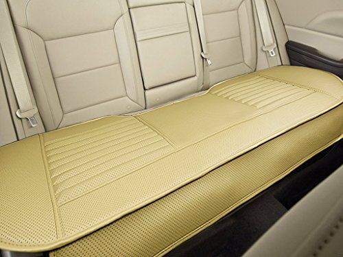 "Beige Rear Mat - Nonslip Rear Car Seat Cover Breathable Cushion Pad Mat for Vehicle Supplies with PU Leather (Beige - Back Row 58.3"" x 18.9"")"