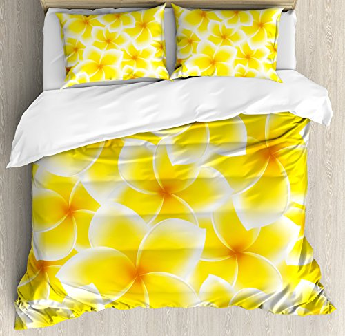 Ambesonne Yellow Duvet Cover Set King Size, Plumeria Frangip