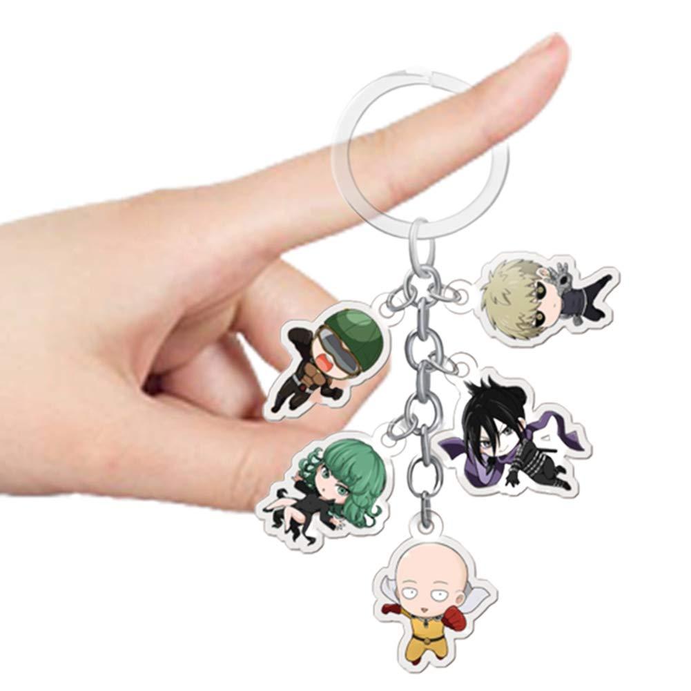 Beautymei Anime One Punch Man Figure Pendants Doll Metal Keychain Japanese Anime Saitama Genos KeyRings