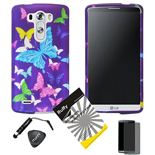 3 items Combo: ITUFFY (TM) Stylus Pen + Case Opener + Design Rubberized Snap on Hard Shell Cover Faceplate Skin Phone Case for LG D830 / D850 / D851 / VS985/ LG G3 (Purple Color Butterfly) (Flame Design Faceplate Cover Accessory)