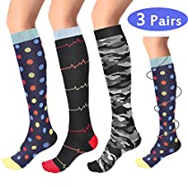 Compression Socks for Women & Men (3 Pairs), Tutuko Graduated Compression Sock 20-25 mmHg, Best Stockings for Running, Flight, Travel, Nurses, Maternity Pregnancy, Edema, Varicose Veins, Diabetic