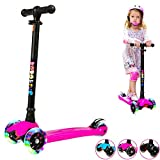BOBOKING Scooter for Kids, 3 Wheel Adjustable Height Deluxe Kick Scooter with LED Light Up Wheels, Wide Deck for Children from age 2 to 14, Surface-safety Balance Technology, Gifts for Kids