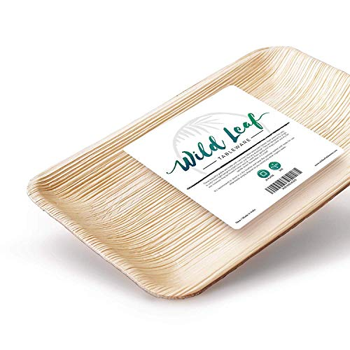Tray Rectangular Wooden (Disposable Palm Leaf Plates, 25 Pack / 6.3 x 9.5 Inch/Rectangular. Compostable, Biodegradable Party Platter Trays - Comparable to Bamboo Wood Fiber - Eco Friendly Alternative to Plastic Tableware)