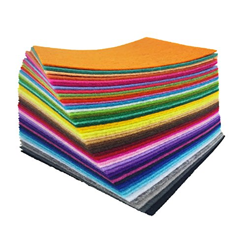 flic-flac 48PCS 8 x 12 inches (20 x 30cm) Assorted Color Felt Fabric Sheets Patchwork Sewing DIY Craft 1mm Thick ... (20cm 30cm, 48pcs)