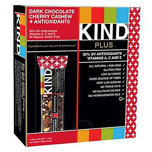 Product Of Kind Plus, Dark Chocolate Cherry Cashew Antioxidants, Count 12 (1.4 oz) - Nutrition Bar With Protein / Grab Varieties & Flavors