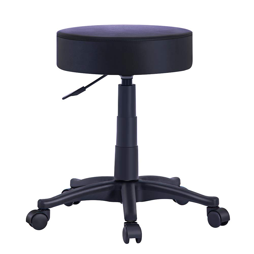 OFFICEFURNITURE ONLINE •Massage Stool Chair with Rolling Wheels and Hydraulic Height Adjustment for Workshop, Salons, Drafting (Black, PU) by OFFICEFURNITURE ONLINE