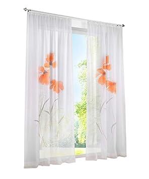 1Pièce Rideau Voilage LxH/150x225cm Impression Fleur Orange Rideaux à Galon Fronceur Décoration de Fenêtre