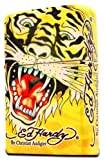 Ed Hardy Jumbo Oil Lighter Cigarette Cigar Oversized, Tatto Artist Christian Audigier Flint Flip Top Refillable (Tiger) Qty 1