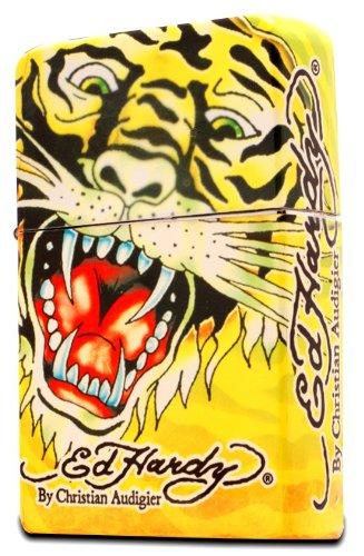 Ed Hardy Jumbo Oil Lighter Cigarette Cigar Oversized, Tatto Artist Christian Audigier Flint Flip Top Refillable (Tiger) Qty 1