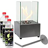 Sunnydaze Stainless Steel Ventless Tabletop Fireplace Cubic Ethanol with Fuel