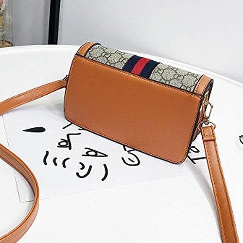 Square Female Ladies Pu Single Cm 12 Messenger Small Shoulder Small 20 New Bag 20 Wild Letter Handbag Bag Yywangpu Khaki Trend wpqO8g1
