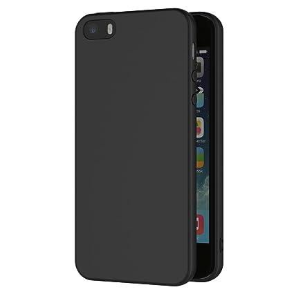 AICEK Funda iPhone Negro Silicona Fundas para iPhone SE / 5S / 5 Carcasa iPhone SE Negro Silicona Funda Case