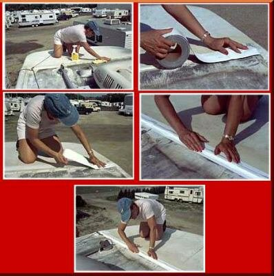 (White Eternabond Mobile Home RV Rubber Roof Repair 4