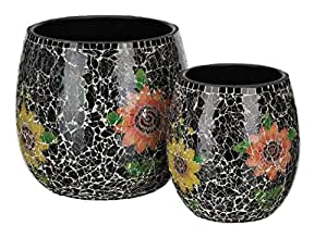Regal Art & Gift Metal and Glass Mosaic Planter Set of 2 Black Garden Decor