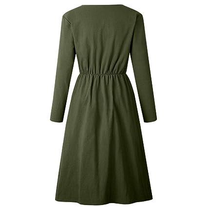 Mujer vestido largo Otoño Bohemian moda fashion 2018 Otoño,Sonnena Vestido de mujer con cuello en V sólido Manga larga con bolsillo Vestido maxi largo de ...