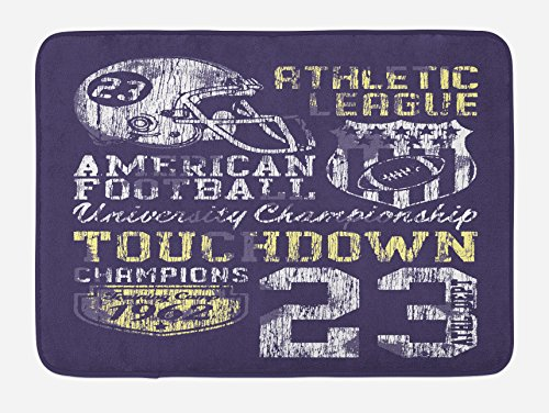 Ambesonne Sports Bath Mat, Retro Style American Football College Theme Illustration Athletic Championship Apparel, Plush Bathroom Decor Mat with Non Slip Backing, 29.5 W X 17.5 W Inches, Purple by Ambesonne (Image #2)