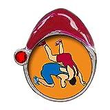Olympics Wrestling posture Red Siam Crystal January Birthstone Red Santa Hat Christmas Charm