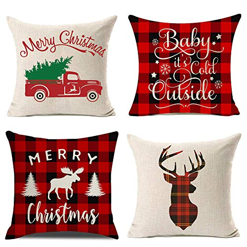 PSDWETS Merry Christmas and Christmas Tree Decorations Cotton Linen Winter Deer Pillow Covers Set of 4 Christmas Decor Snowman Throw Pillow Covers Cushion Cover 18 X 18