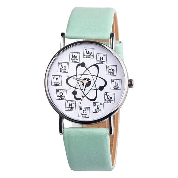 Fancy - Reloj analógico de Cuarzo para Mujer con Elementos químicos de Cuero Casual: Amazon.es: Relojes