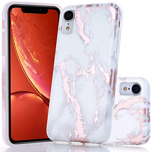 BAISRKE Shiny Rose Gold White Marble Design Bumper Matte TPU Soft Rubber Silicone Cover Phone Case for iPhone XR 6.1 inch (2018)