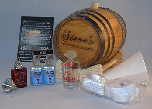 2 Liter Custom Engraved American White Oak Flavoring Gift Set (Coconut Rum)