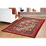 Traditional Oriental Panel Medallion Area Rug Persian Style Carpet Red Maharaja 650 furnishmyplace 4x6