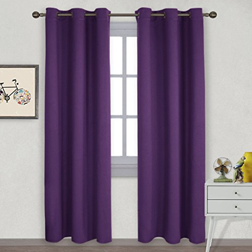 NICETOWN Triple Weave Home Decoration Thermal Insulated Solid Ring Top Blackout Curtains / Drapes for Bedroom(Set of 2,42 x 84 Inch,Royal Purple)