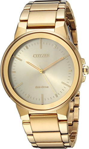 Men's Citizen Eco-Drive Axiom Gold Tone Stainless Steel Watch BJ6512-56P Citizen Gold Wrist Watch
