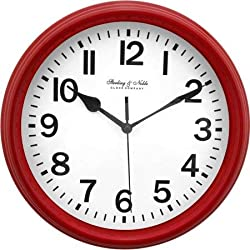 Mainstay Sterling & Noble Round Wall Clock - Red