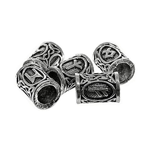 Metal Celtic Viking Rune Tube Beads - for Creating Bracelets, Necklaces, or Other Jewelry and Accessories (Antique Silver, 5 Pack) from Craft County
