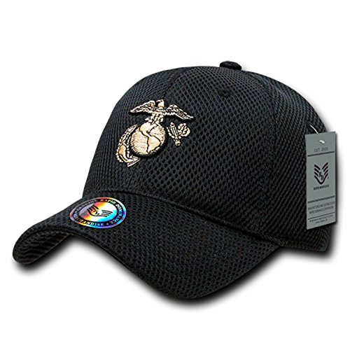 Black Usmc Cap - Black United States US Marines Corps USMC Marine Military Mesh Structured Baseball Cap Hat