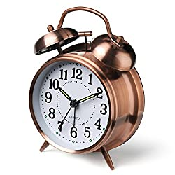 Peakeep 4 Twin Bell Alarm Clock (Red-Brown)