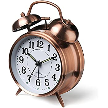 Peakeep  Twin Bell Alarm Clock Bronze