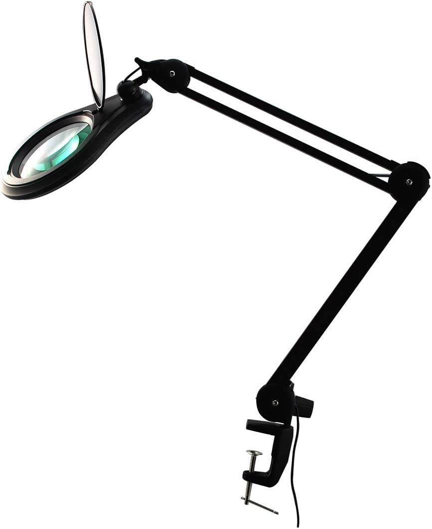 ESD Safe BoliOptics Professional LED Magnifying Lamp, Full Spectrum Daylight Bright Magnifier Glass Lens, Adjustable Swivel Arm Clamp for Desk Table Craft Work Bench, Black, 8 Diopter, 5 inch Lens