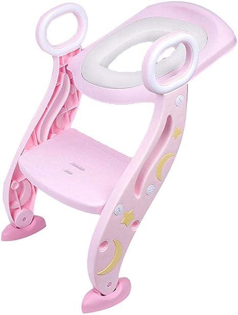 Jimackey - Reductor WC para niños con escalera plegable, kit de aseo Trainer Step Up con cojín, modelo universal, reductor de agua para niños talla única Rosa: Amazon.es: Bebé