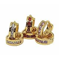 1-2646-f9 18kt Brazilian Gold Layered Classic CZ Huggie Hoop Earrings. 5mm thick, 12mm diameter.
