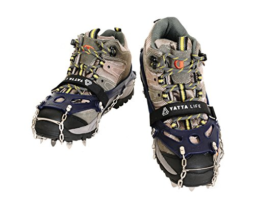Yatta Life Heavy Duty 14-Spikes Ice Grip Trail Spikes Snow Cleats Footwear Crampon for Walking, Jogging, or Hiking on Snow and Ice(Medium (Navy Blue) Size 7-8.5)