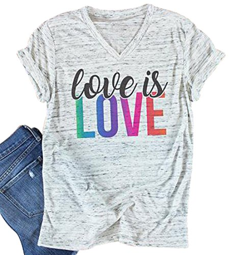 Love is Love Colorful Letter Print T-Shirt Womens V-Neck Casual Short Sleeve Tee Size XL (Light Grey) by FAYALEQ