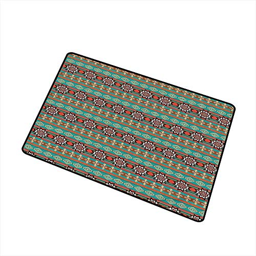 (Axbkl Fashion Door mat Native American Floral and Geometric Ethnic Tribal Cultural Motif Pattern Print W35 xL47 Quick and Easy to Clean Coral Teal and Brown)