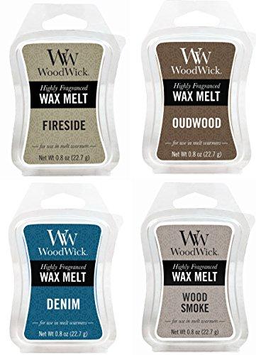 WoodWick Cozy Cabin Bundle - 4 Items: Denim, Fireside, Oudwood, and Wood Smoke 8oz Mini Wax Melts