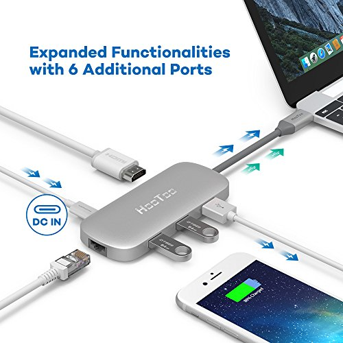 HooToo USB C Hub With Ethernet, HDMI, 100W Power Delivery, 3 USB ports USB C Network Adapter for MacBook Pro & Type C Windows Laptops - Silver by HooToo (Image #1)