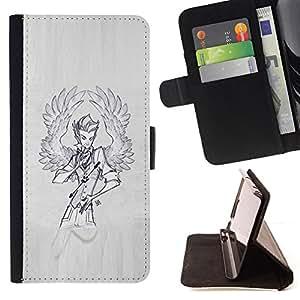 - Queen Pattern FOR Samsung Galaxy Note 4 IV /La identificaci????n del cr????dito ranuras para tarjetas tir????n de la caja Cartera de cuero cubie - wings angel man sketch grey pa