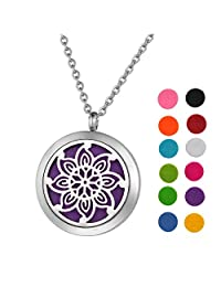 Stainless Steel Aromatherapy Essential Oil Diffuser Necklace with Idiomatical Design for Women,Silver Tone