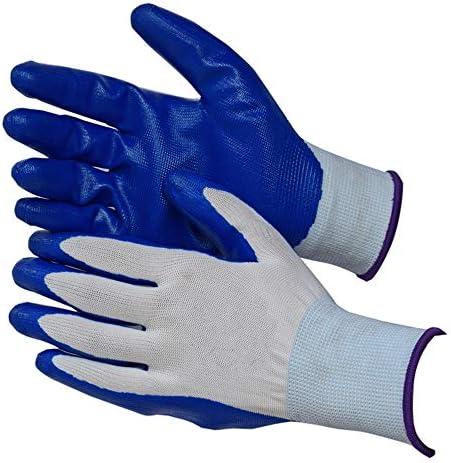ガーデニング用手袋 ブルーウォーターガーデニングブチロニトリル滑り止め労働保護手袋ソフトラバーゴム切断接着剤手袋安全な手袋 園芸 採掘 植栽 枝切り 防護手袋