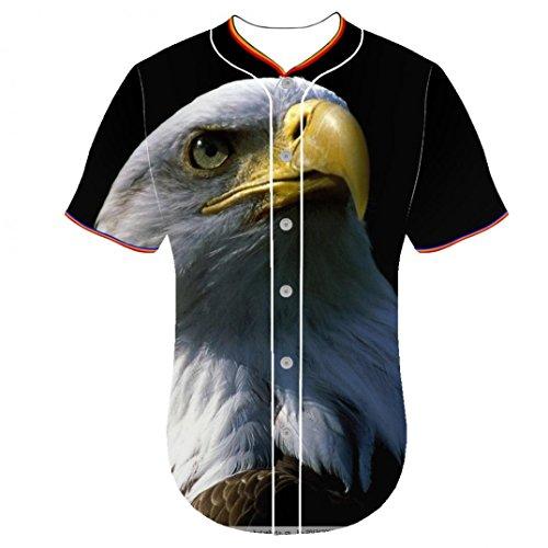 Mens Jerseys Bald Eagle Uqms Arc Bottom Mens Shirt 3D Print Wuqujian Baseball Team Jersey 3 D Printing Button Front Shirt